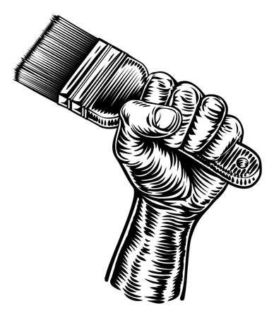 Hand Holding Decorators Paintbrush Ilustración de vector