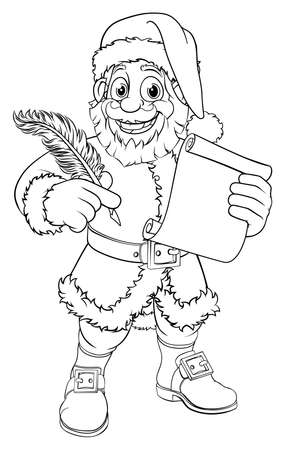 Santa Claus Black And White Outline Cartoon Illustration