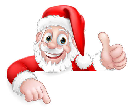 Santa Claus Christmas Peeking Pointing Cartoon Vettoriali