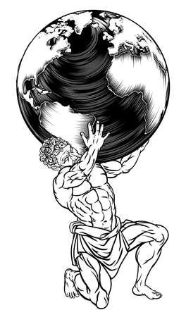 Atlas Titan Holding Globe Greek Myth Illustration