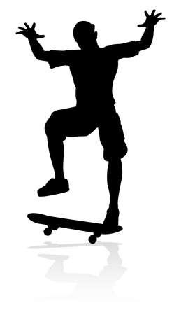 Skateboarder Skater Silhouette Illustration