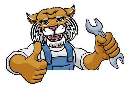 Wildcat Plumber Or Mechanic Holding Spanner Illustration