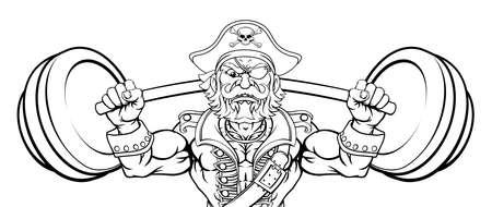 Pirate Weight Lifting Barbell Cartoon Mascot Illusztráció