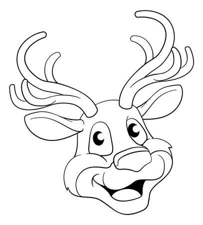 Christmas Cartoon Reindeer Character Векторная Иллюстрация