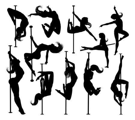 Pole Dancing Women Silhouettes Set