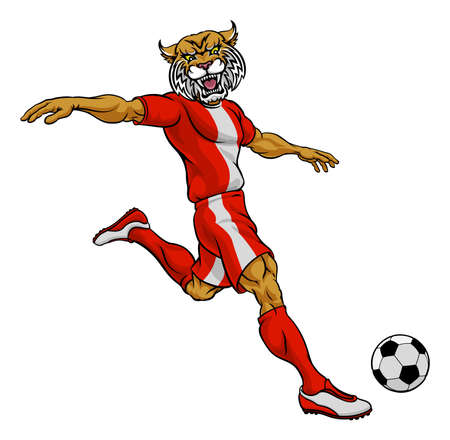 Wildcat Soccer Football Player Sports Mascot Çizim