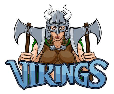 Viking Female Gladiator Warrior Woman Team Mascot Vecteurs