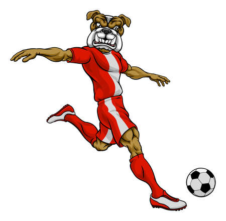 Bulldog Soccer Football Player Sports Mascot