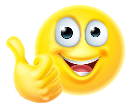 Thumbs Up Emoticon Emoji Face Cartoon Icon Vektorové ilustrace