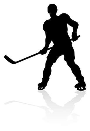 Ice Hockey Player Silhouette Vektorové ilustrace