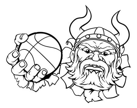 Viking Basketball Ball Sports Mascot Cartoon