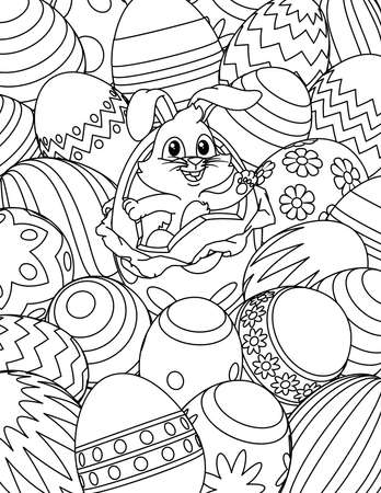 Easter Bunny Eggs Coloring Book Page Cartoon