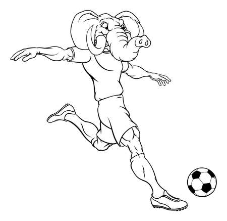 Elephant Soccer Football Player Sports Mascot
