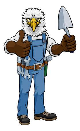 Eagle Bricklayer Builder Holding Trowel Tool