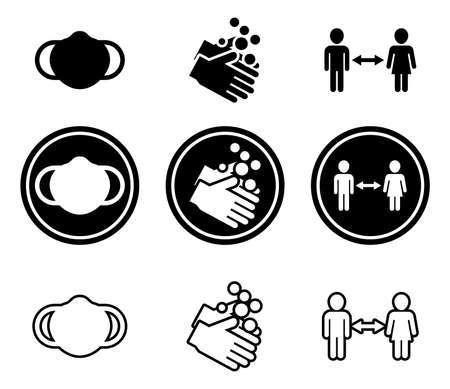 Set of Covid Guideline Icons Vektorové ilustrace