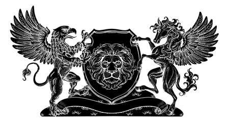 Coat of Arms Crest Griffin Pegasus Lion Shield Çizim