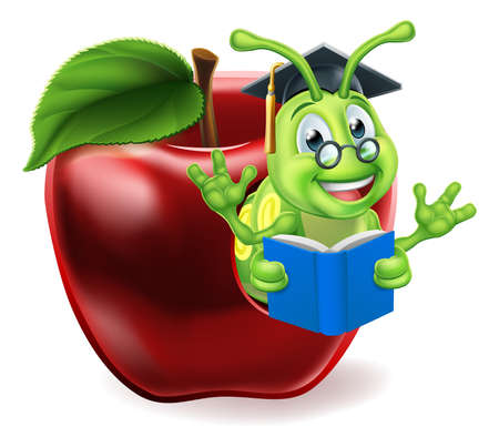 Book Worm Apple Cartoon