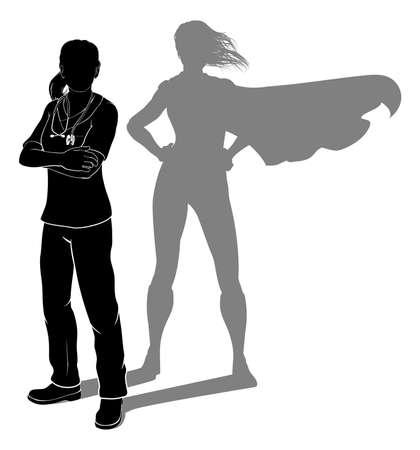 Doctor Nurse Woman Silhouette Scrubs Super Hero