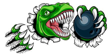 Dinosaur Bowling Player Animal Sports Mascot