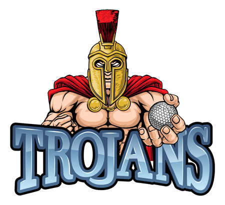 Trojan Spartan Golf Sports Mascot Illustration