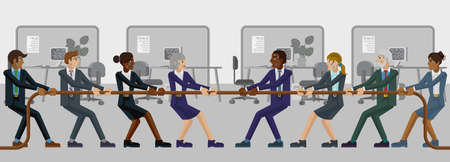 Tug of War Rope Pulling Business People Concept Illustration