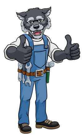 Wolf Construction Cartoon Mascot Handyman