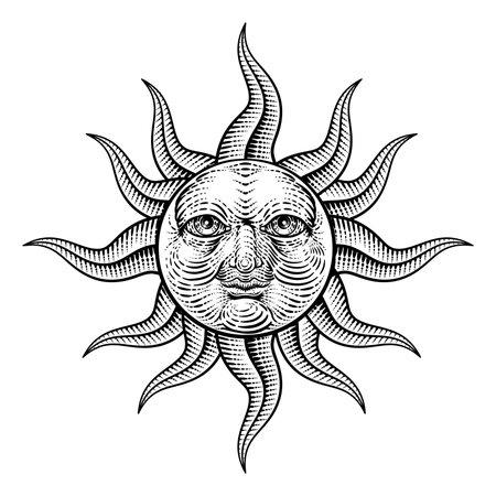 Sun Face Woodcut Drawing Retro Vintage Engraving Vettoriali