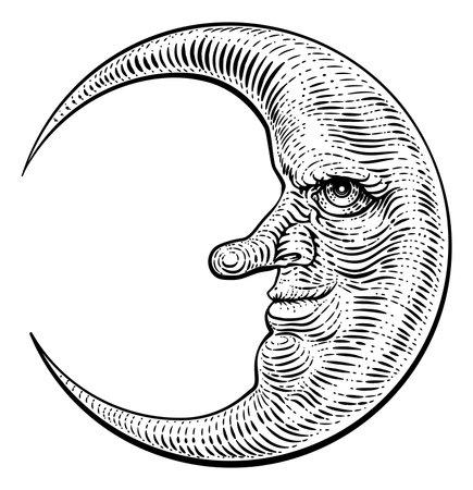 Moon Face Woodcut Drawing Retro Vintage Engraving
