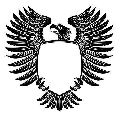 Eagle Shield Vintage Engraved Woodcut Style  イラスト・ベクター素材