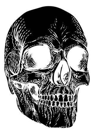 Skull Grim Reaper Vintage Woodcut Illustration  イラスト・ベクター素材