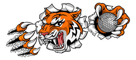 Tiger Golf Ball Player Animal Sports Mascot