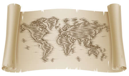 World Map Drawing Old Woodcut Engraved Scroll