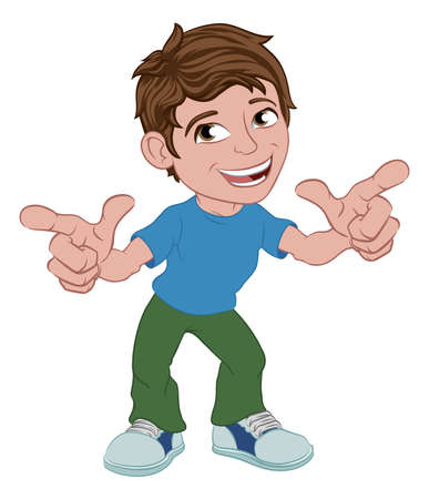 Boy Kid Cartoon Child Character Pointing