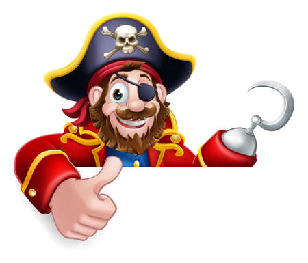 Pirate Captain Cartoon Thumbs Up Sign Background