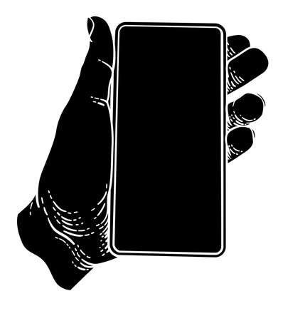 Hand Holding Mobile Phone Vintage Style 向量圖像