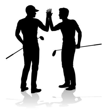 Golfer Golf Sports People in Silhouette