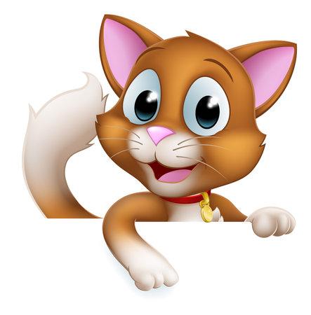 Cat Cartoon Pet Kitten Cute Animal Character Sign