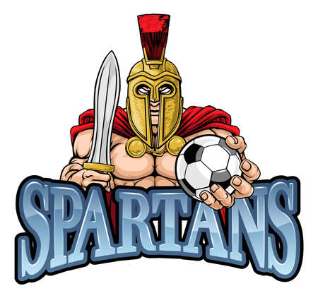 Spartan Trojan Soccer Football Sports Mascot Stock Illustratie
