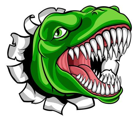 Dinosaur T Rex or Raptor Cartoon Mascot Vecteurs