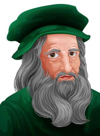 Leonardo Da Vinci Portrait Illustration Illustration