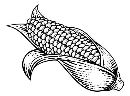 Corn Vegetable Vintage Woodcut Illustration