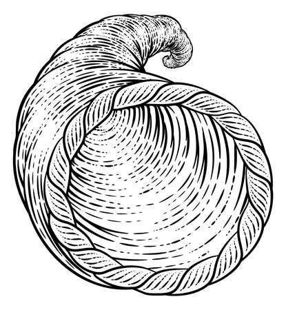 Cornucopia Horn Vintage Woodcut Illustration