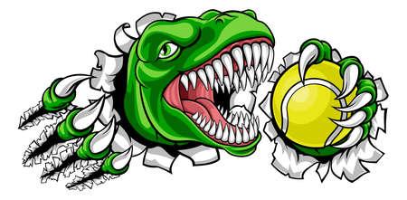 Dinosaur Tennis Player Animal Sports Mascot
