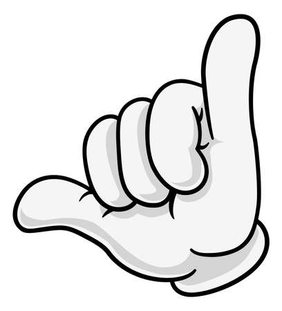 Shaka Hang Loose Hand Gesture Sign Cartoon Symbol