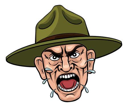 Angry Army Bootcamp Drill Sergeant Cartoon Ilustración de vector