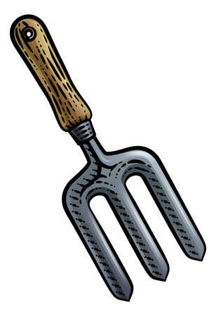 Garden Fork Gardening Tool Vintage Style Woodcut Illustration