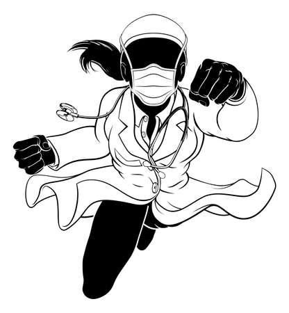 Doctor Woman Flying Super Hero PPE Mask Silhouette