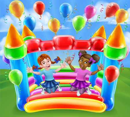 Bouncy House Castle Jumping Girls Kids Cartoon Vector Illustration