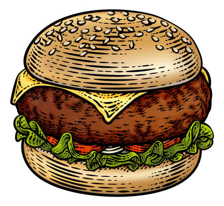 Burger Hamburger Vintage Woodcut Illustration