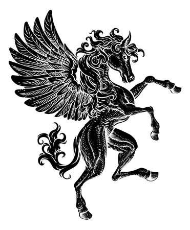 Pegasus Rearing Rampant Crest Coat Of Arms Horse